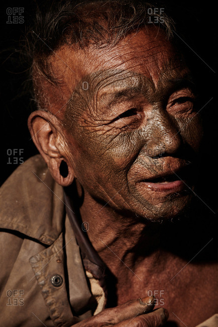 Nagaland, India - January 21, 2016: A grinning Konyak man