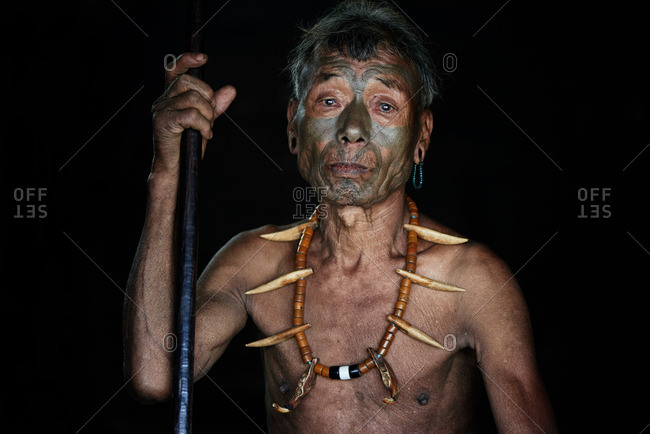 Nagaland, India - January 28, 2016: Konyak man with traditional jewelry