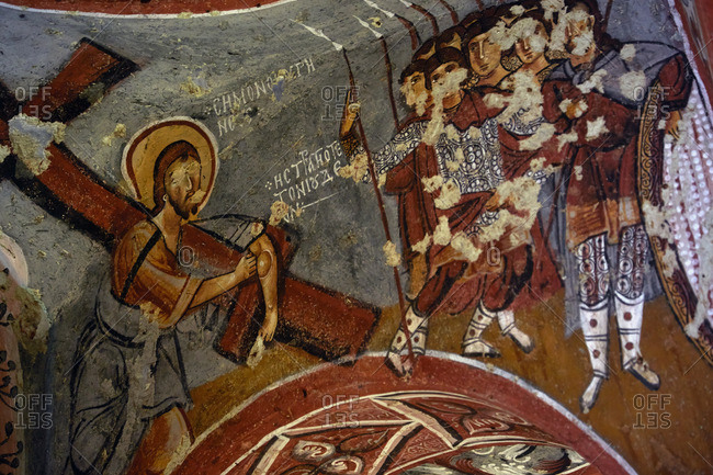 Cappadocia, Turkey - May 02, 2014: Byzantine religious frescoes in ancient cave church