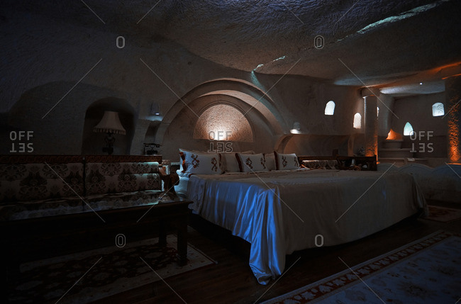 Cappadocia, Turkey - May 04, 2014: Room of Museum Hotel in Uchisar based in houses of ancient civilizations