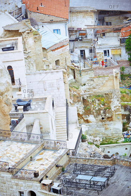Cappadocia, Turkey - May 06, 2014: High angle view on built structures in Goreme town