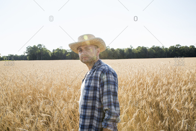 Man wearing a checkered shirt and a hat standing in a cornfield, a farmer