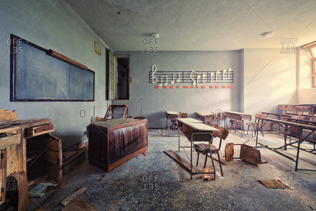 Music classroom in an abandoned school