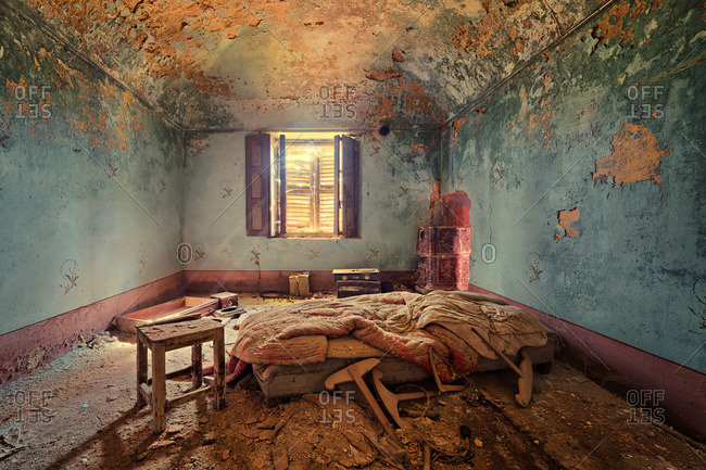 Bedroom in a decaying house