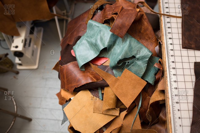 Scraps of leather material