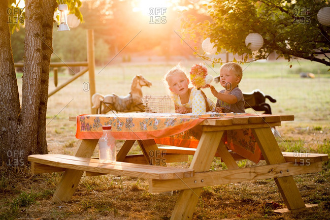 Kids at a rural picnic table