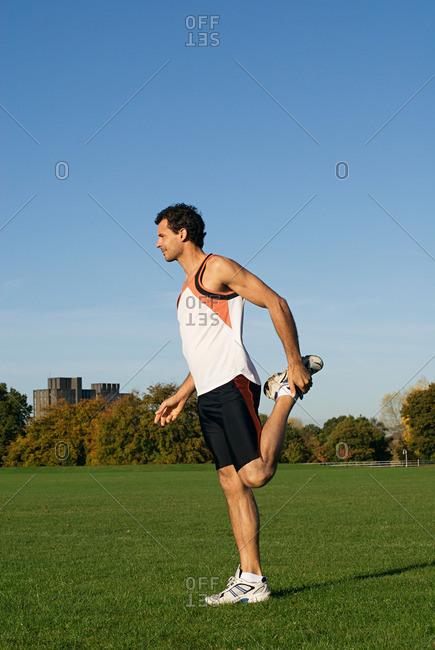 A man warming up