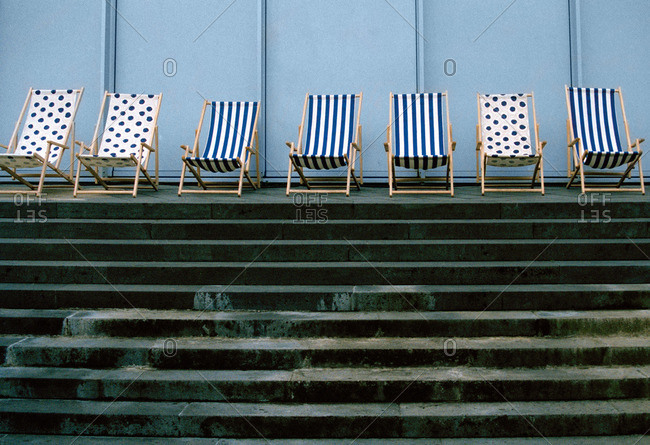 Deckchairs in a row