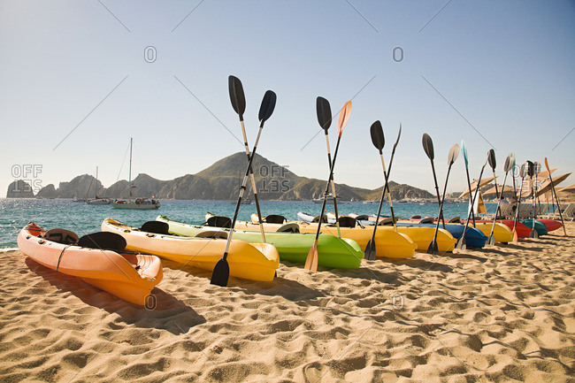 Canoes on luxury beach resort