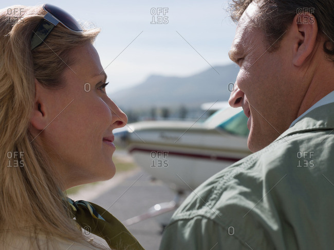 Couple by private airplane