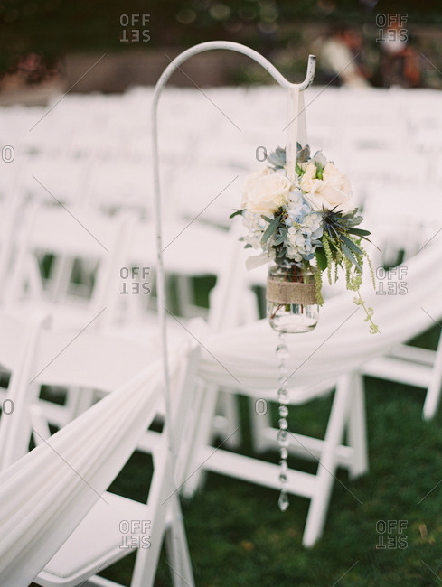 Wedding flowers on a hook