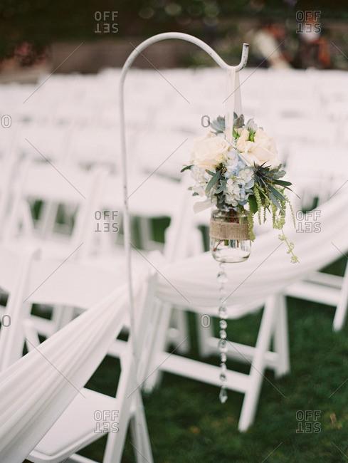 Wedding flowers on a hook