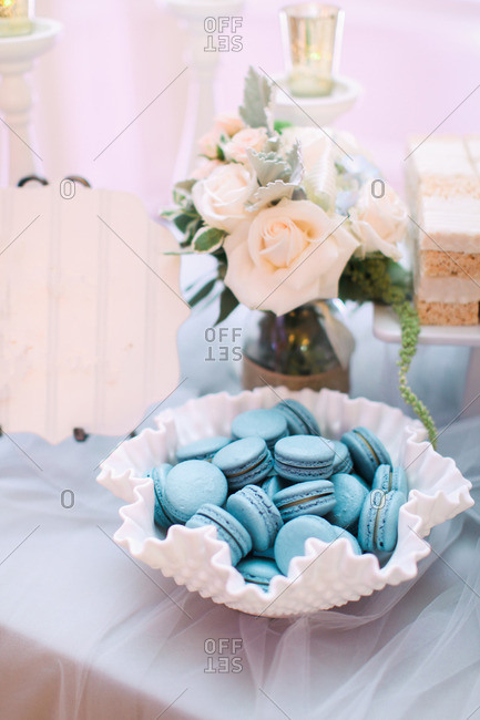 Blue macarons at wedding