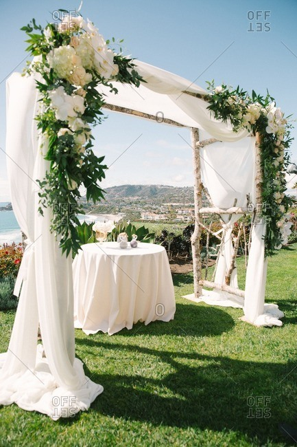 Wedding setup with coastal view