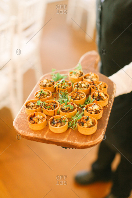 Wedding appetizers served on board