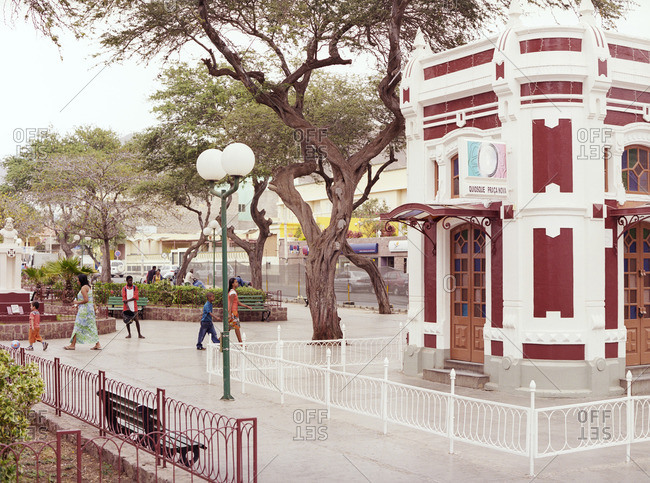 Cape Verde Island , Africa - November 2, 2010: Traditional architecture and trees in Praca Amilcar Cabral Square, Mindelo, Cape Verde Islands