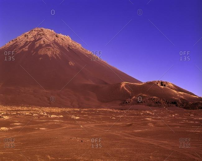 Pico de Fogo mountain and a purple sky on the Cape Verde Islands