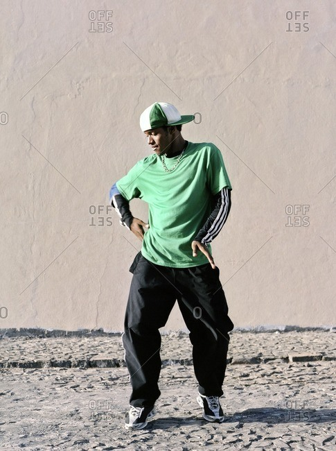 Cape Verde Island , Africa - November 1, 2010: Hip-hop dancer moving on the streets of Soa Felipe, Cape Verde Islands