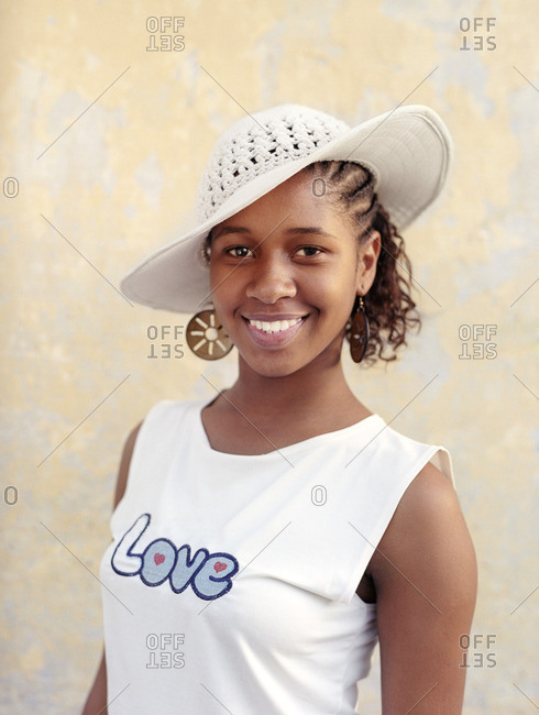 Cape Verde Island , Africa - November 1, 2010: Hip-hop dancer smiling in Soa Felipe, Cape Verde Islands