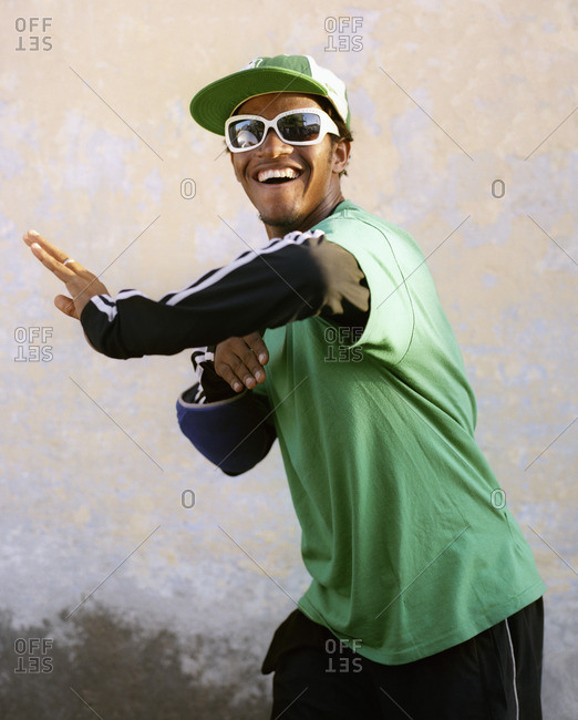 Cape Verde Island , Africa - November 1, 2010: Hip-hop dancer smiling and dancing in Soa Felipe, Cape Verde