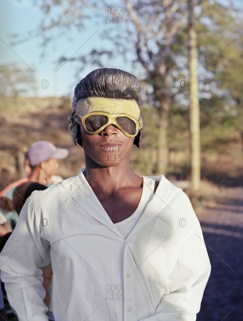 Cape Verde Island , Africa - November 4, 2010: Elvis impersonator at a carnival rehearsal on Fogo, Cape Verde Islands