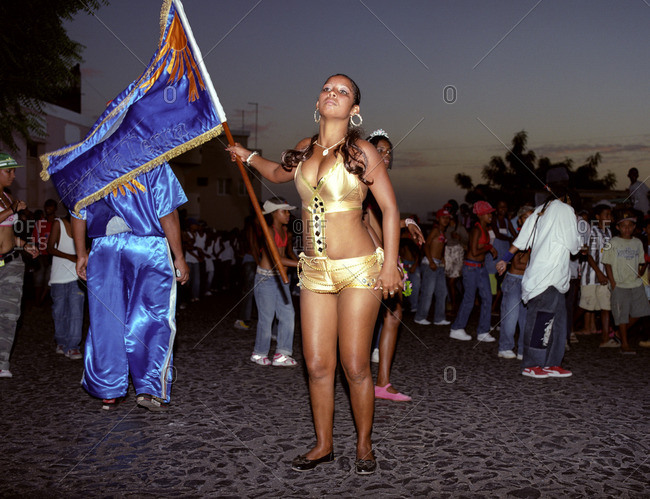 Cape Verde Island , Africa - November 1, 2010: Young women rehearsing a dance for a carnival on Fogo, Cape Verde Islands