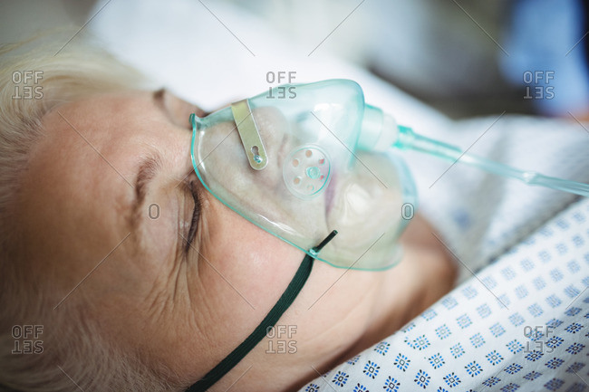 Elderly woman with medical mask