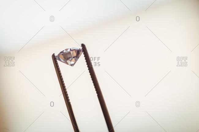 A cut diamond in close up