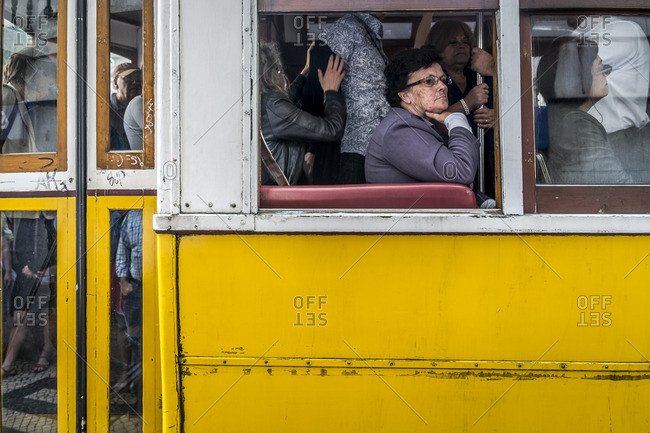 Lisbon, Portugal -April 15, 2014: Tram in Lisbon at rush hour