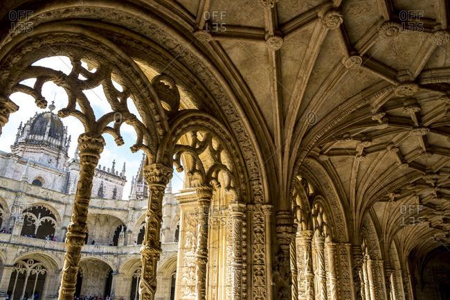Lisbon Portugal - April 18, 2014: View from the interior of Hieronymites Monastery (Mosteiro dos Jeronimos), Lisbon, Portugal