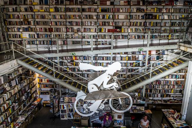 "Lisbon, Portugal - April 17, 2014: Interior of the famous bookstore ""Ler Devagar"" in Lisbon"