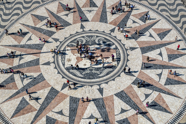 Lisbon, Portugal - April 14, 2014: The mosaic map of the Portuguese maritime discoveries at the monument to Pioneers in the District of Belem in Lisbon