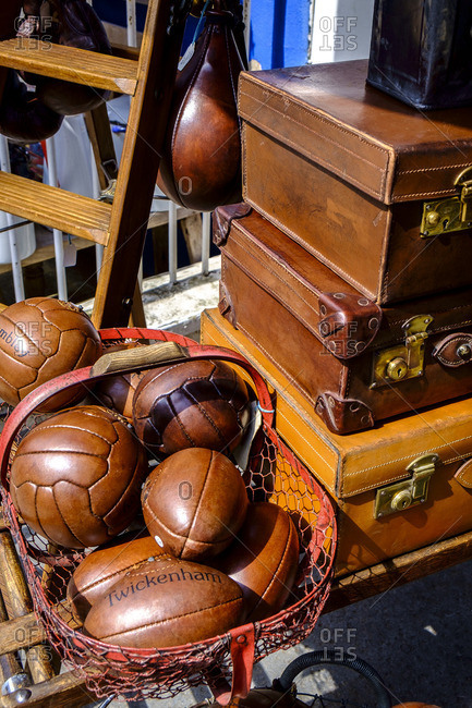 London, England - July 30, 2014: Balls at a vintage market in Portobello Road in Notting Hill in London