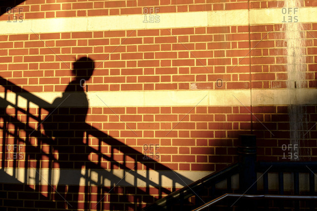 Shadow of a woman on a brick wall