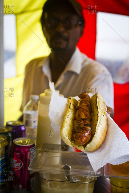 Toronto, Canada - June 26, 2013: Hot dog seller in Toronto, Canada