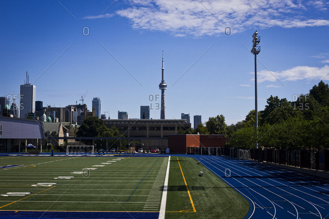 Toronto, Canada - July 1, 2013: A view of the NC Tower from an athletics track in Toronto, Canada