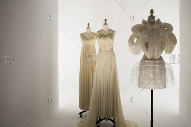 New York City, NY - August 6, 2016: Dresses on bust forms in the Metropolitan Museum of Art in New York City, New York
