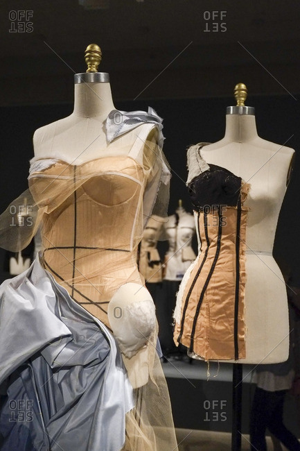 New York City, NY - August 6, 2016: Dresses on mannequins in the Metropolitan Museum of Art in New York City, New York