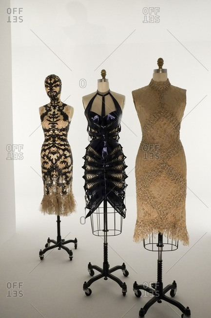 New York City, NY - August 6, 2016: Clothing on bust forms in the Metropolitan Museum of Art in New York City, New York