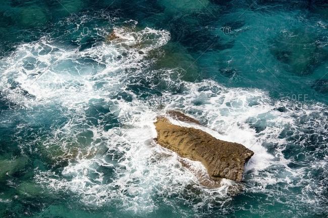 Ariel view of a seascape and white cliffs in Bonifacio, Corsica, France