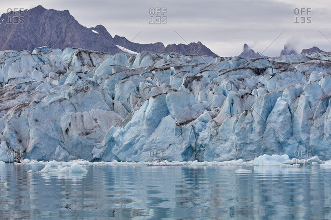 Blue ice field at the edge of the Karale Glacier in Greenland
