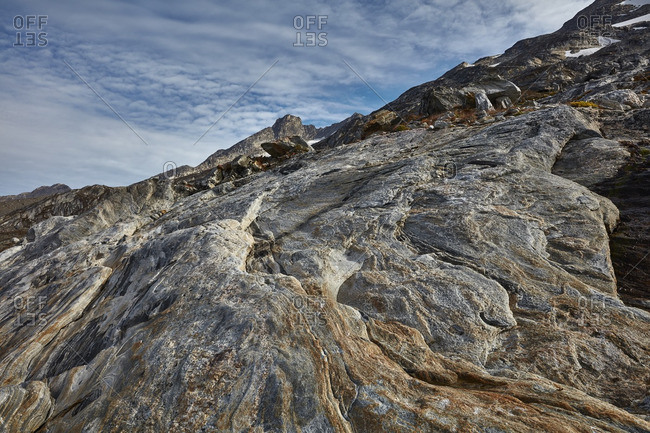 Rock pattern on the side of a mountain in Greenland