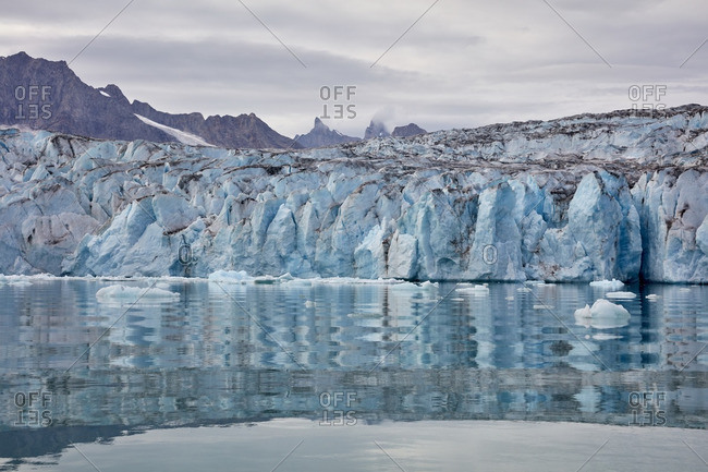 Wall of ice formation at the edge of the Karale Glacier, Greenland