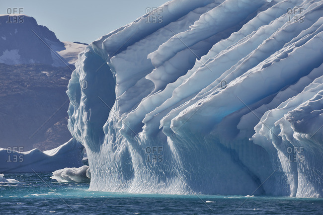Glacial formation sloping toward the sea on the coast of Greenland