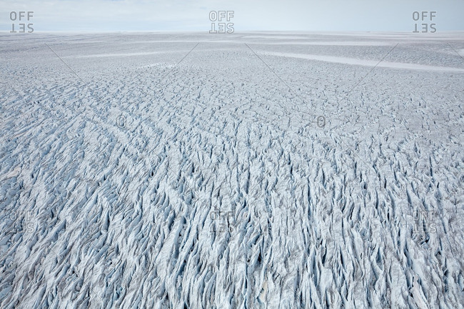 Vast sheet of jagged ice on a mainland glacier, Greenland