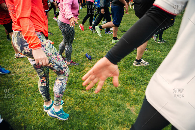 Women stretching before a marathon