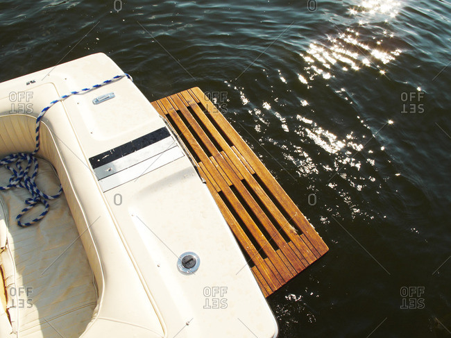 Wood platform on the aft section of a speedboat