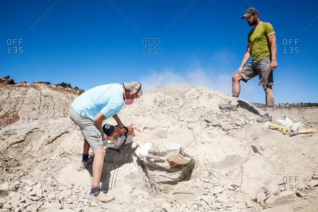 Paleontologist using a rock saw in the field with another field worker looking on while excavating a site in Utah's Kaiparowits Plateau