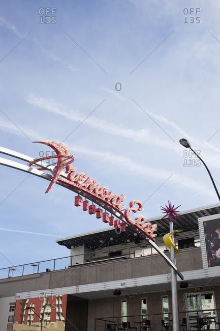 Las Vegas, USA - April 7, 2015: Art Deco style neon sign above street