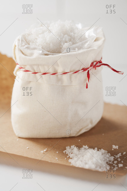 Sea salt in bag